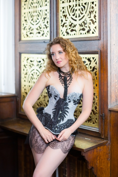 Edwardian inspired coutil corset embellished with antique Victorian lace. Design by Karolina Laskowska. Modelled by Ella Rose, photography by Chris Murray