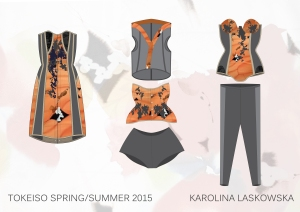 Karolina Laskowska graduate collection orange technical drawings