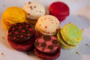 The colours of these macarons are so deliciously floral and the scattered accent colours almost painterly...
