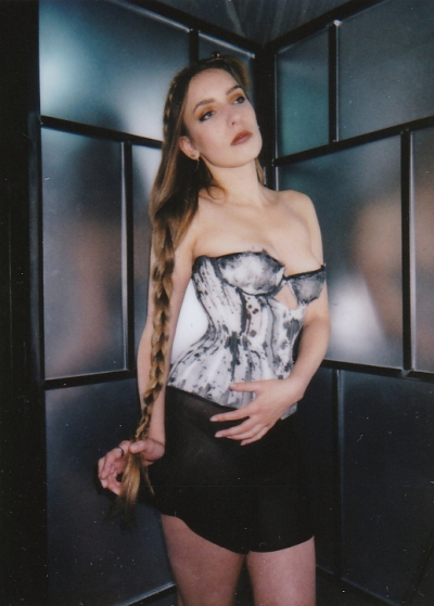 Ink corset by Karolina Laskowska, polaroid by Jenni Hampshire