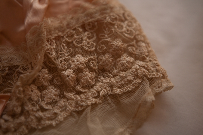 Silk, Schiffli embroidery and ribbonwork boudoir cap detail. Photography by Karolina Laskowska