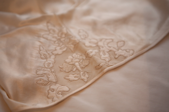 1930s silk tap pant embroidery and cutwork detail. Photography by Karolina Laskowska