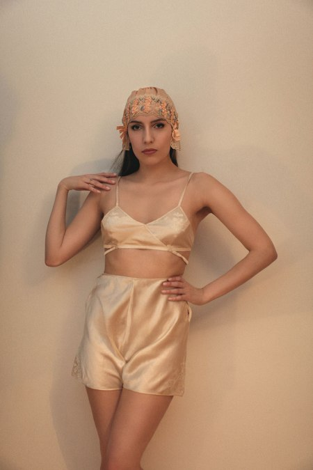 Silk Kestos-stye bra and tap pants, ribbonwork silk boudoir cap. Modelled by K. Laskowska, photography by Jessica Flavin
