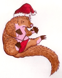 Lingerie Santa Pangolin, apparently now the Secret Santa Mascot! Illustrated by the wonderful Marianne Faulkner