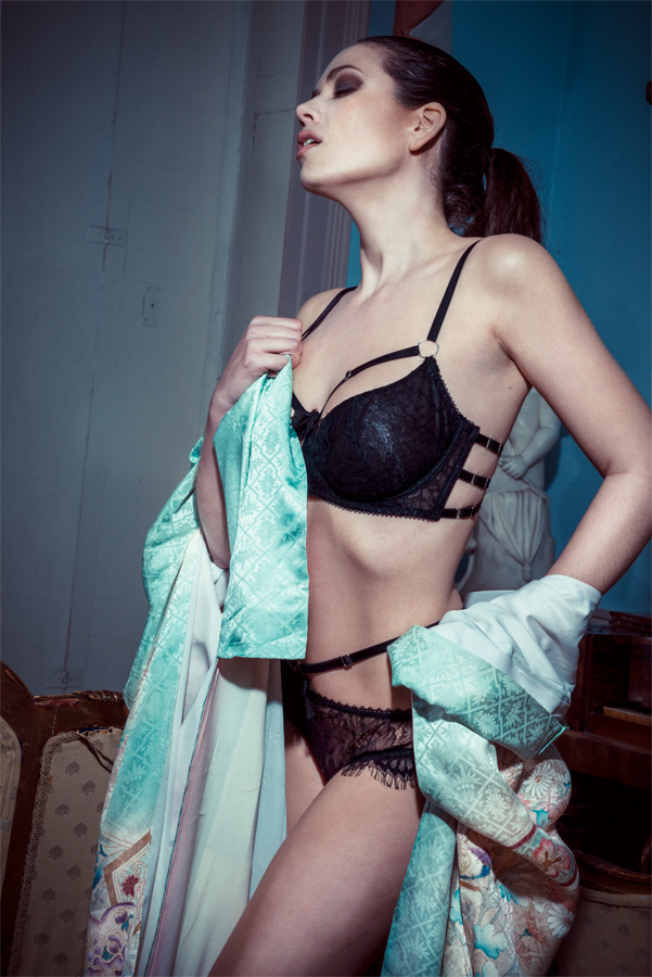 I put a lot of work into developing the Sayuri bra for larger busts; it seems that even beautiful photos on a 32F model weren't enough to sell this style. Unfortunately I couldn't even entertain the thought of including this bra size in my factory production as it was so cost prohibitive. Lingerie by Karolina Laskowska. Photo by J Tuliniemi. Modelled by Vicky Burns. MUA by Sandra Nilsen.