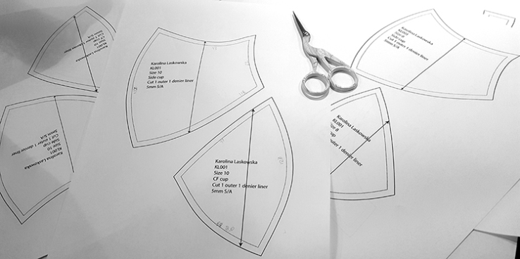 The development of patterns is one of the most time consuming and expensive parts of bra creation. Perfecting this pattern for my first major production run took me weeks.