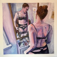 """Self Reflection (Ara) by Maia Desjardins Acrylic on paper 46x46 cm """"I've recently been making a series of acrylic on paper works (like the one attached) that explore the things we do in the privacy of our own homes in preparation to go out into the public realm. Many of the paintings depict more bodily subjects such as menstruation or the removal of hair but the relationship I have with lingerie also falls into this category. Of course lingerie can be public and I enjoy sharing new finds with my friends but what I hope to capture in this image is that private excitement you get from lingerie. Those moments when you have a little extra time to dress in you favourite pieces and feel like the strongest version of yourself. It's that personal enjoyment I focus on here in my depiction of the Ara set. """""""
